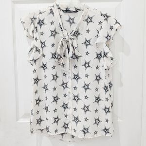 Zara Basic Star Print Ruffle Sleeveless Blouse S